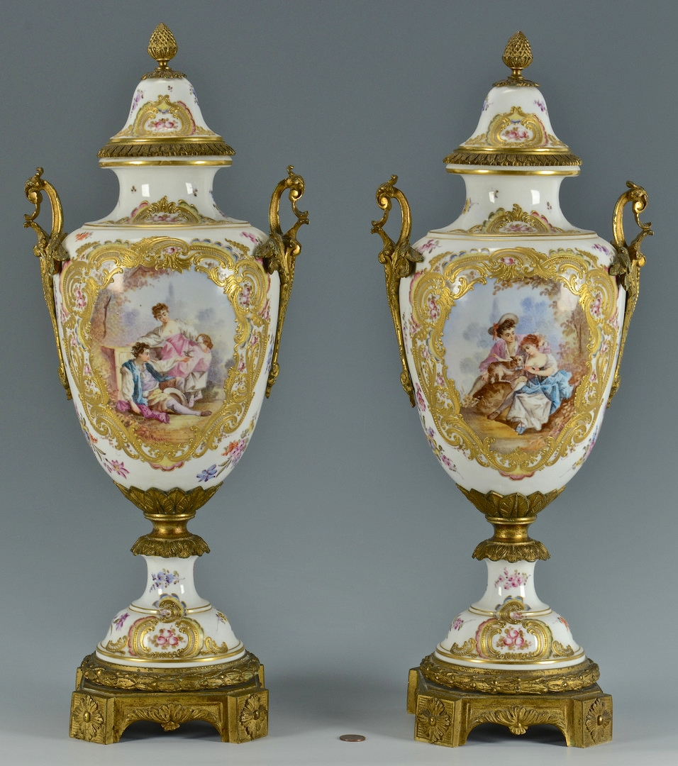 Lot 62 Pair Lg French Porcelain Urns