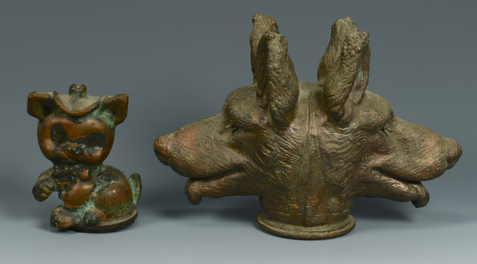 Lot 638: 4 Copper Puppet Molds, Animals, Copper Doll Mold