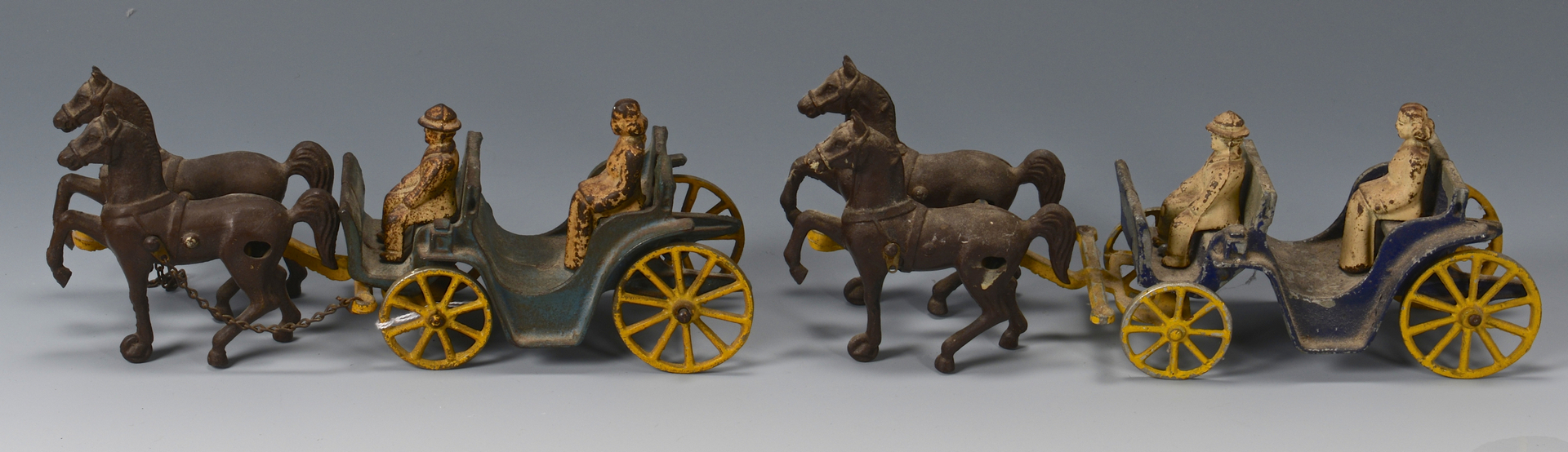 Lot 639: Cast Iron Wagons & Buggies, 5 total