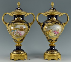 Lot 63: Pair Lg Cobalt French Porcelain Urns