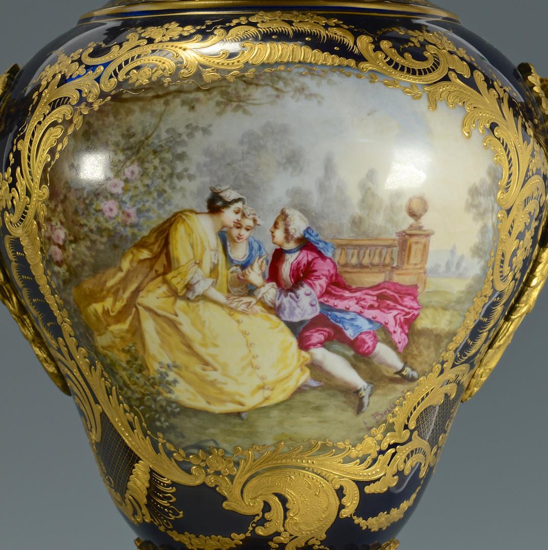 Lot 63: Pair Lg Cobalt French Porcelain Urns