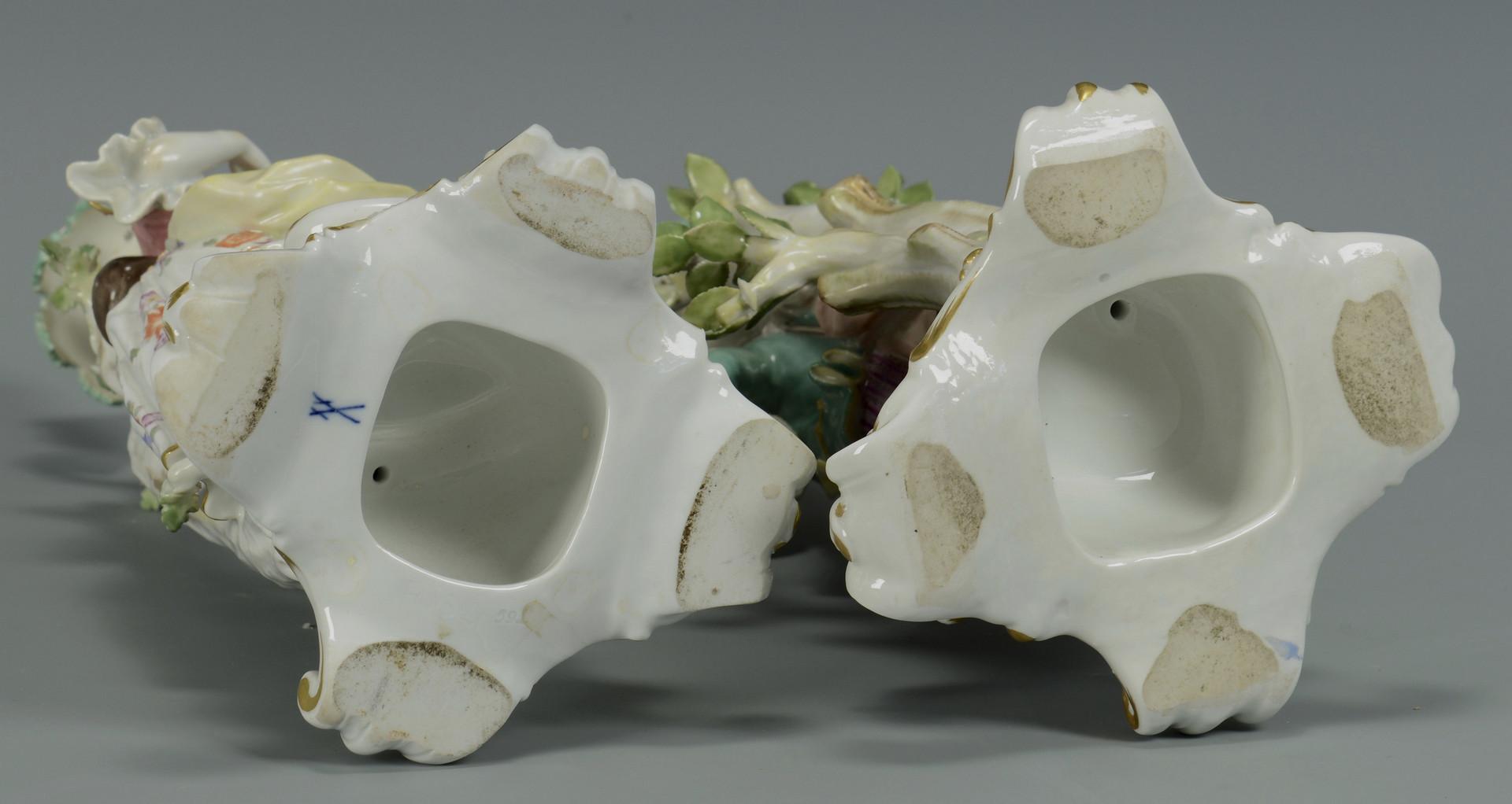 Lot 65: Pair Meissen Figural Candelabra