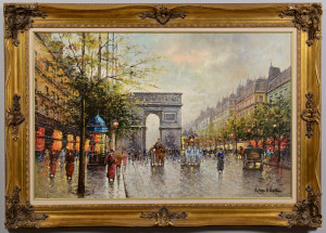 Lot 663: Large Paris Scene, signed Antoine Blanchard