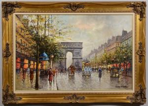 Lot 663: Large Paris Scene, signed Antoine Blanchard