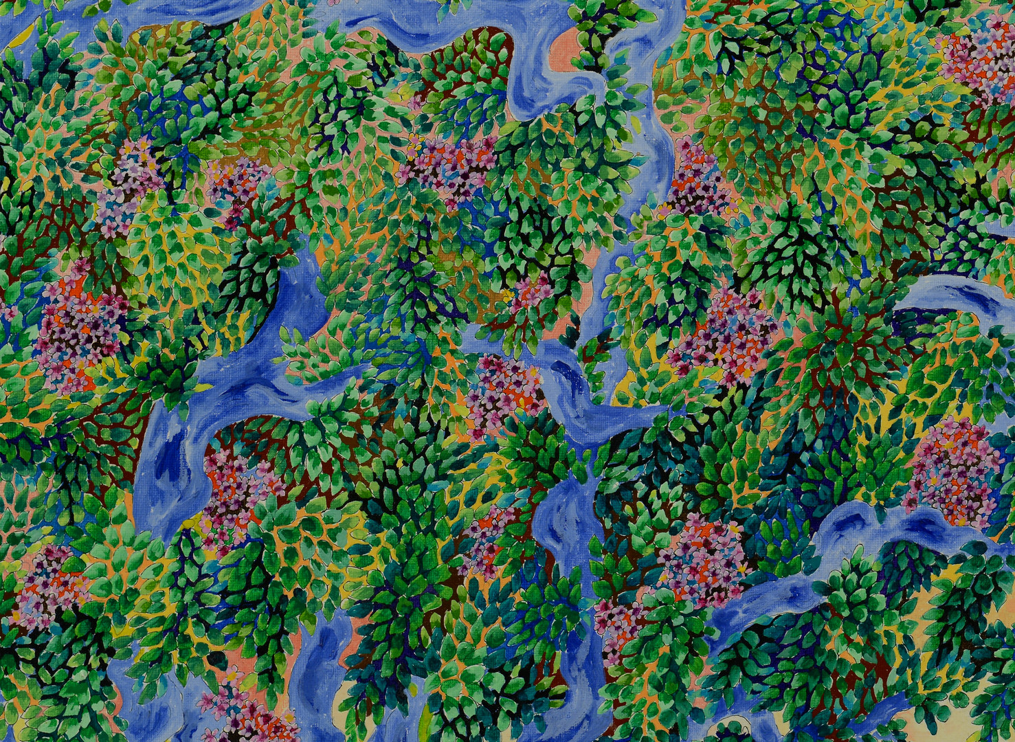 Lot 665: Michel Loeb painting, house in trees