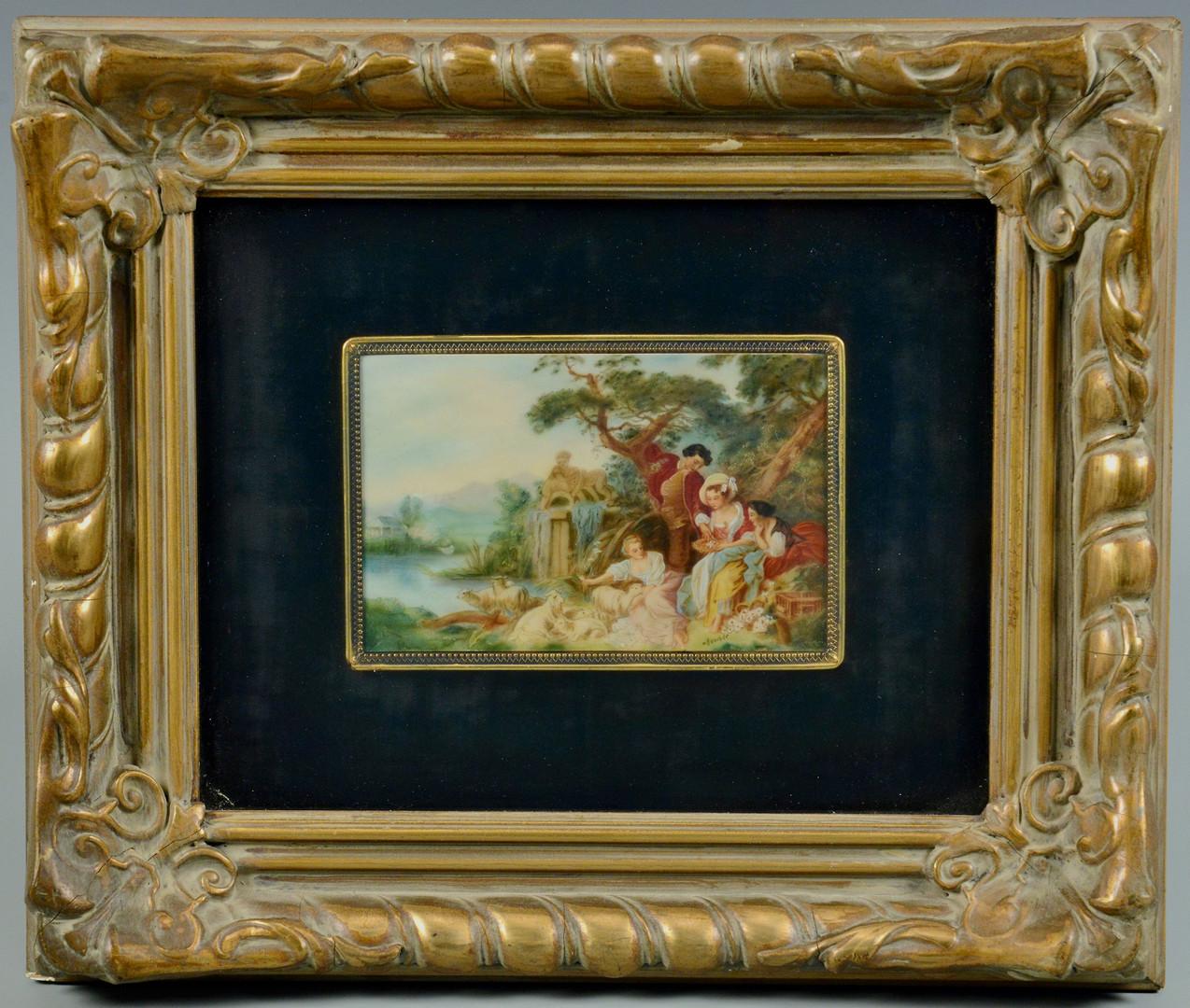 Lot 673: Landscape Miniature, after Boucher