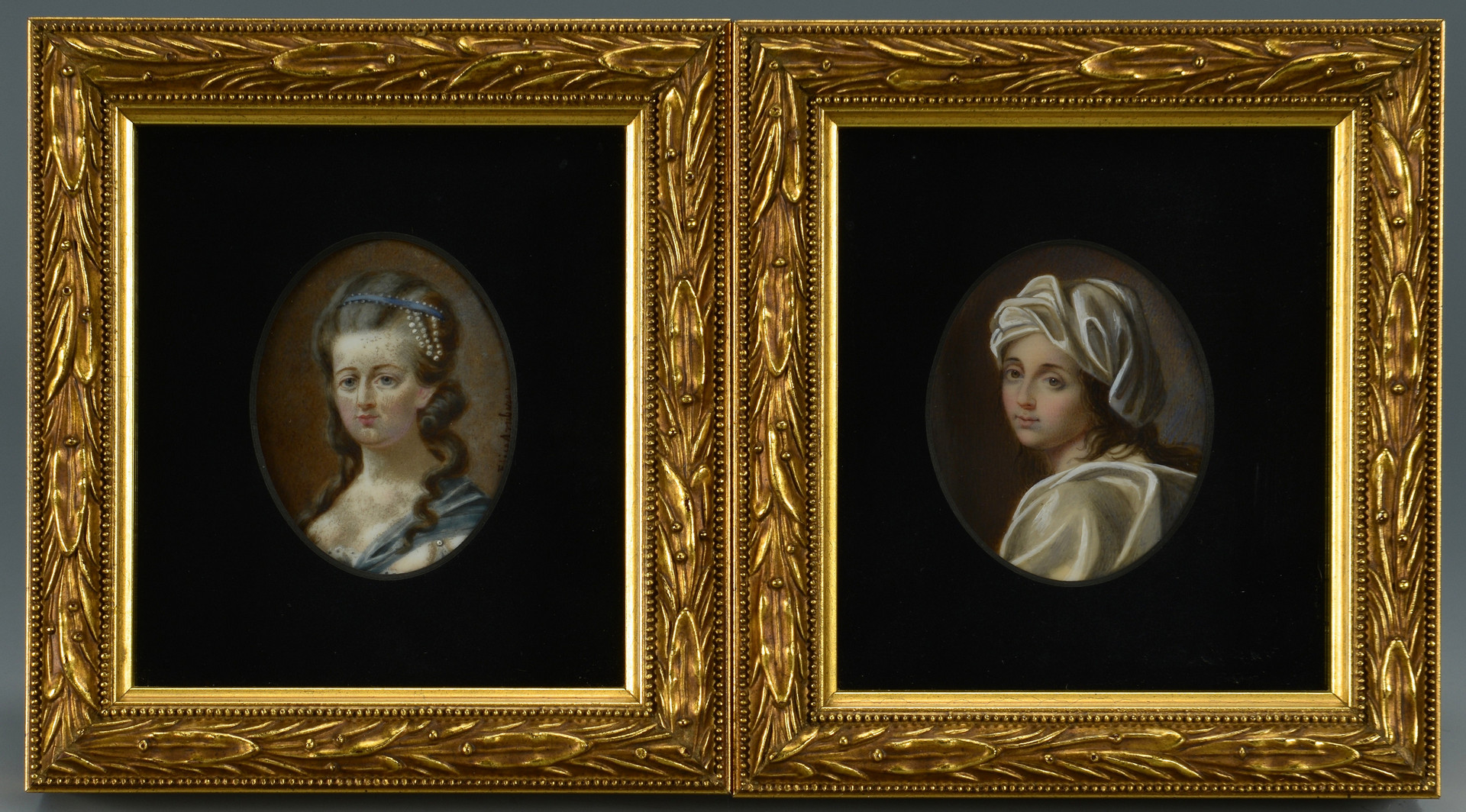 Lot 675: 2 Portrait Miniatures, Elise Arnberg