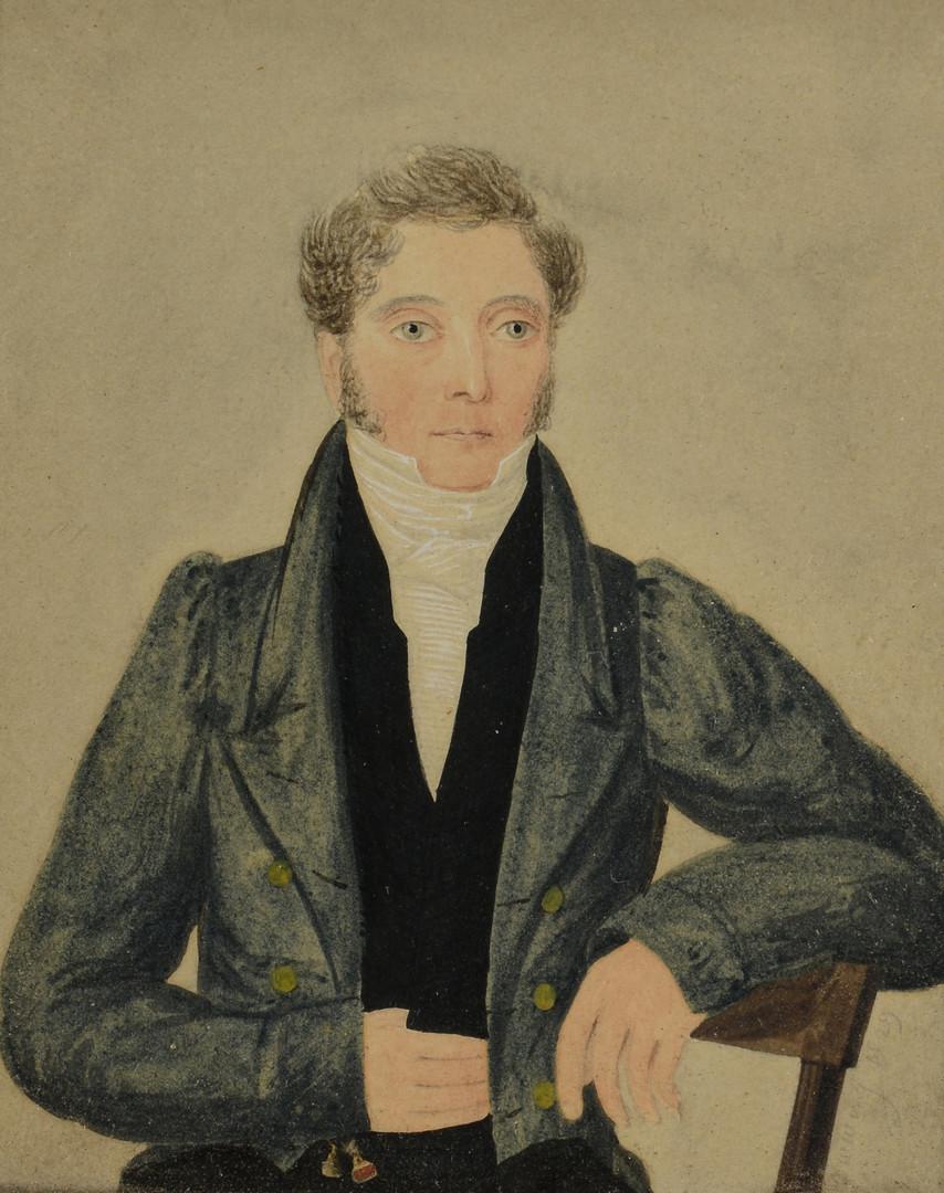 Lot 676: Pr. British miniature portraits, signed