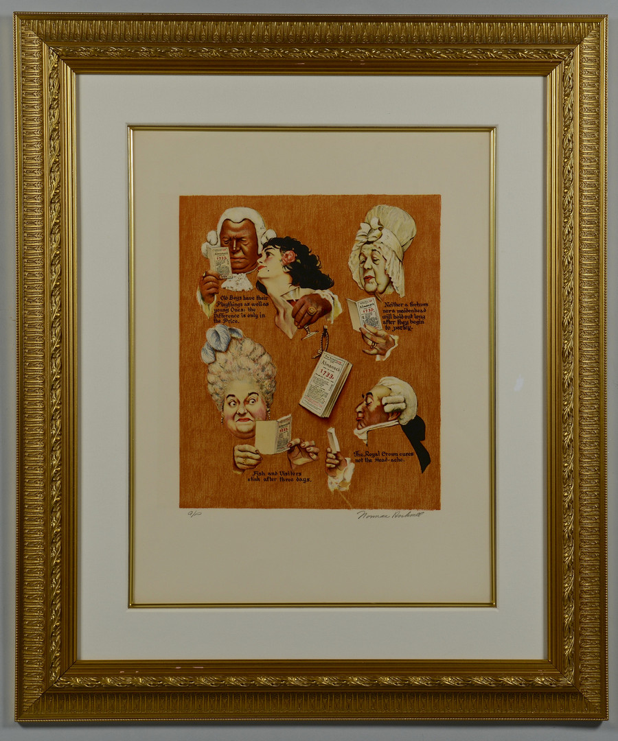 """Lot 682: Norman Rockwell Signed Litho, """"Poor Richard's Alma"""