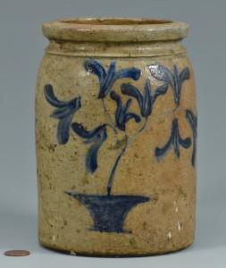 Lot 692: Cobalt Stenciled Jar, Ham Easter