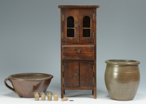 Lot 694: TN Miniature Cupboard & 2 Pcs. TN Pottery