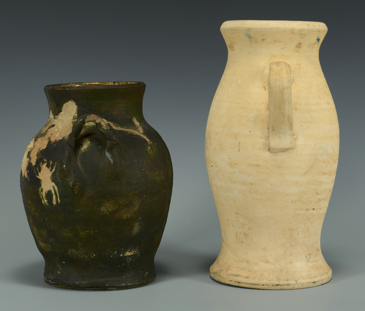 Lot 695: 3 Southern Pottery Jars, Painted