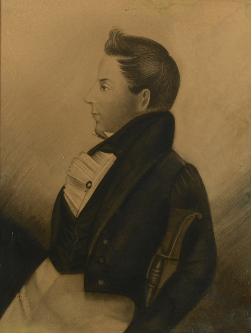 Lot 696: Charcoal Portrait of a Gentleman, possibly East Te