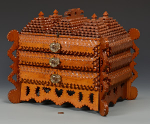 Lot 698: Large Tramp Art Sewing Box