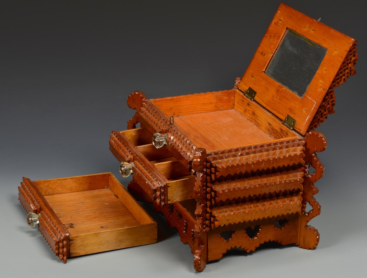 Lot 698: Large Tramp Art Sewing Box