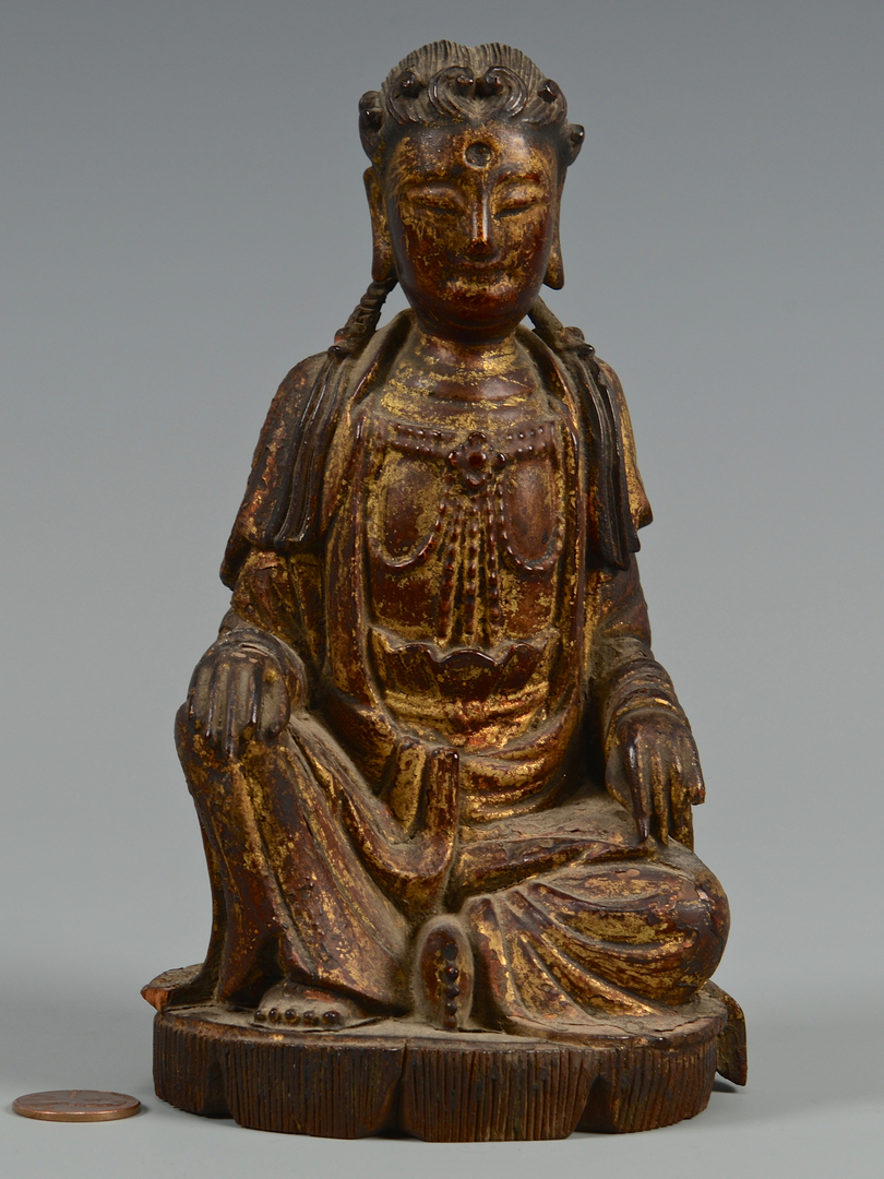 Lot 6: Polychrome Carved Seated Buddha
