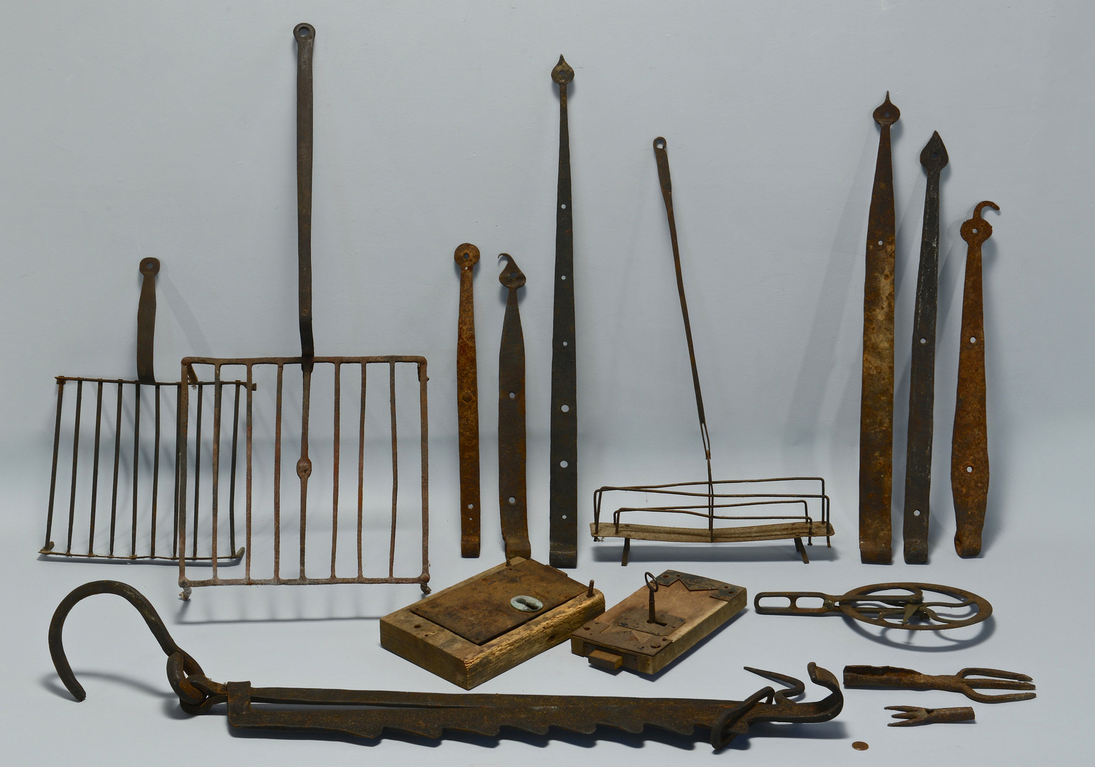 Lot 701: Group of Wrought Iron Fireplace Items & Others