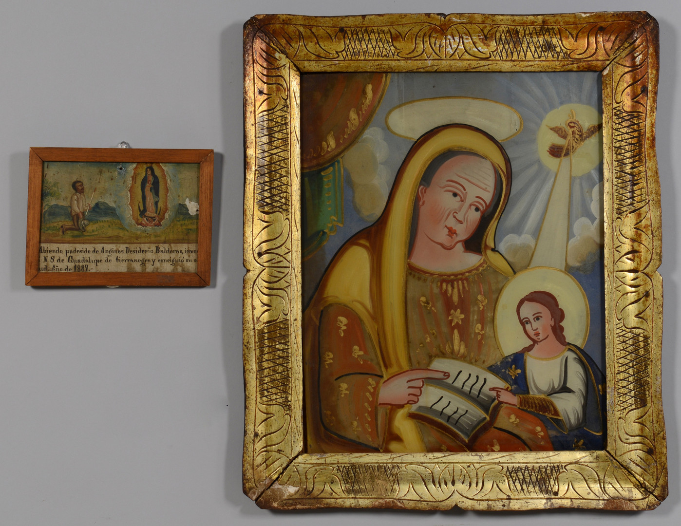 Lot 704: Religious Eglomise and Retablo
