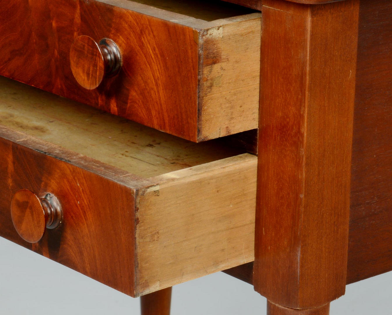Lot 711: Southern Cherry Candlestand and 2-Drawer Table
