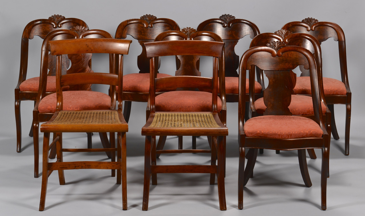 Lot 712: Set of 8 Empire Chairs & Pair of Empire Chairs att