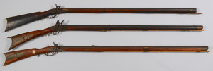 Lot 715: 3 Percussion & Flintlock Long Rifles Including Con