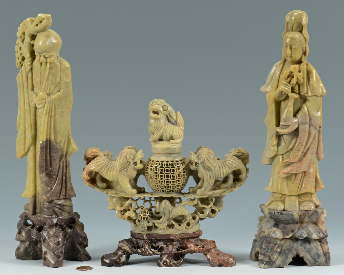 Lot 736: Pr Chinese Soapstone Lohan Figures, Jar, Censer
