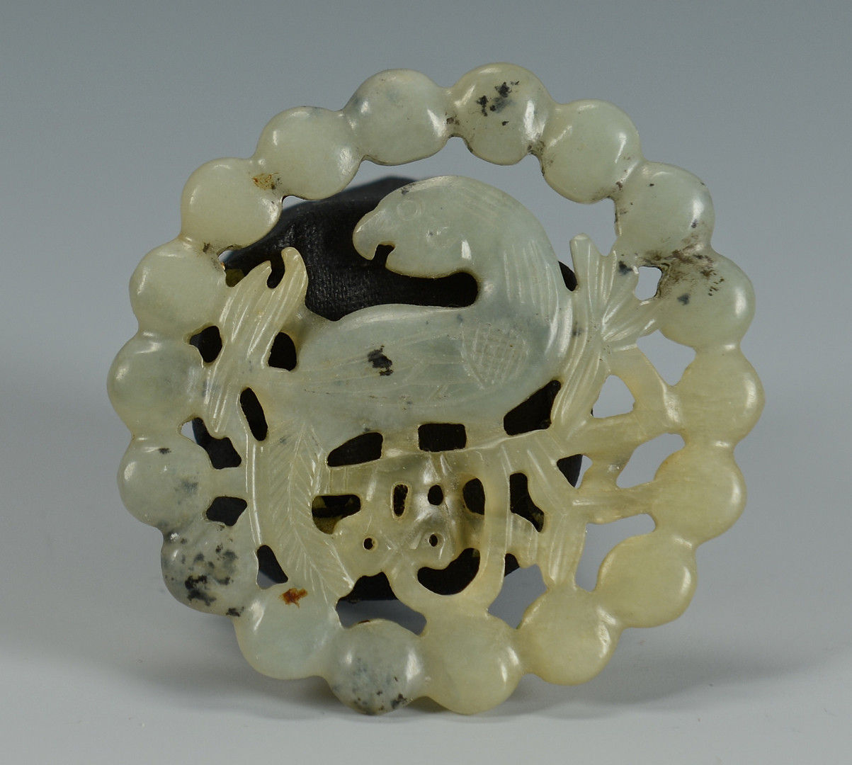 Lot 737: Chinese Carved Jade Disc, Bird Design