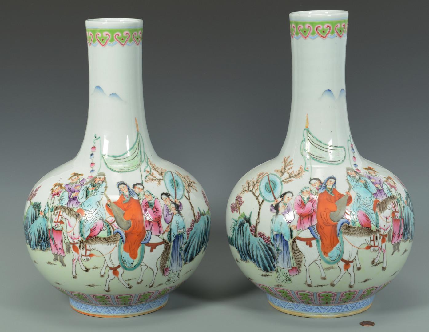 Lot 742: Pr. Chinese Famille Rose Bottle Vases