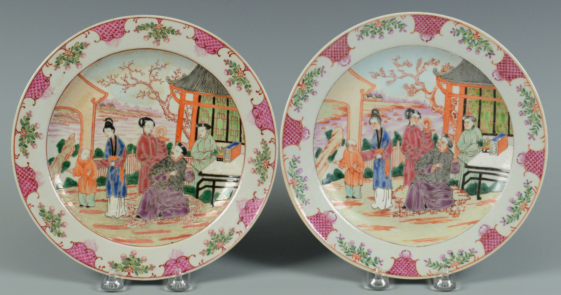 Lot 744: 5 Chinese Famille Rose Porcelain Items
