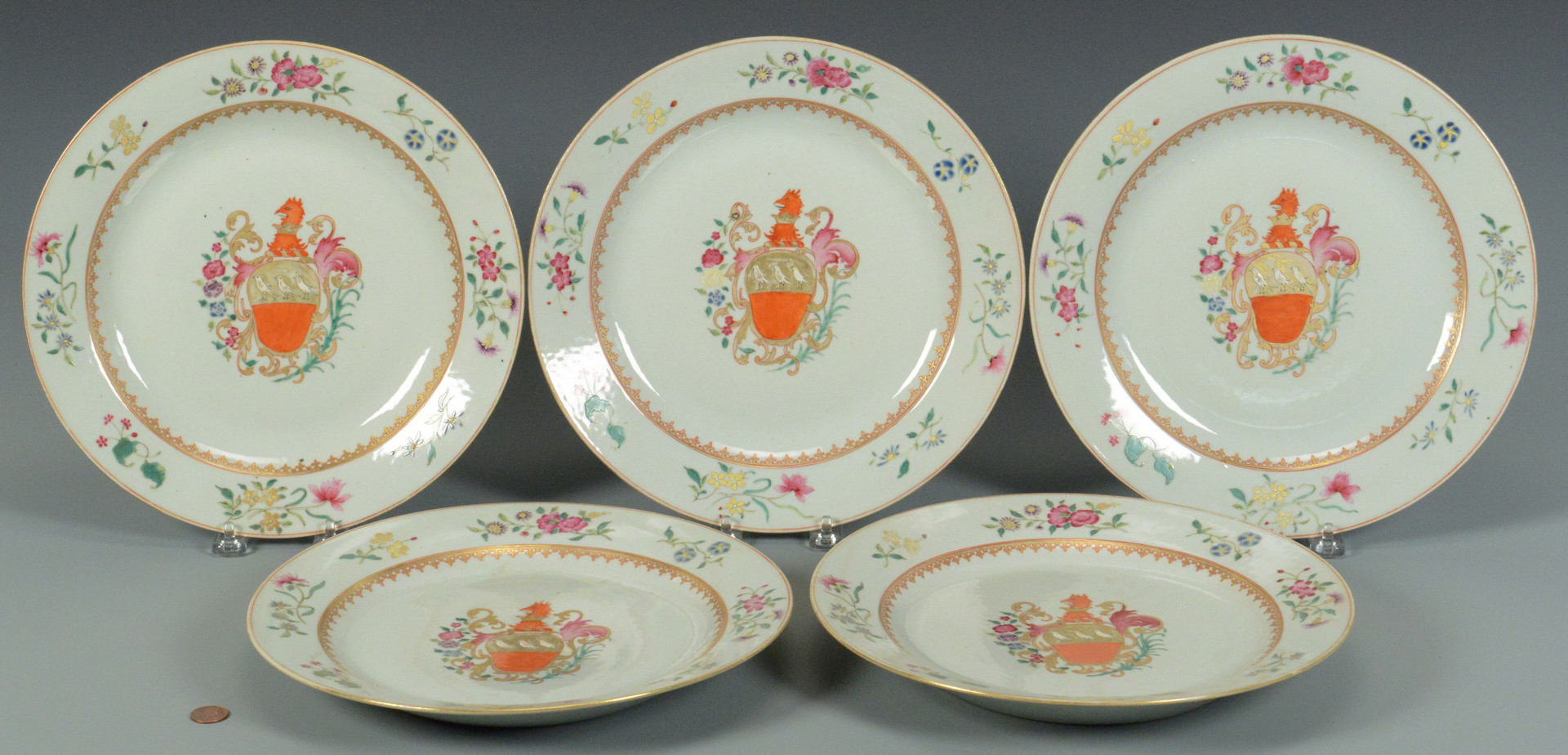 Lot 745: 7 Chinese Export Armorial Porcelain Items