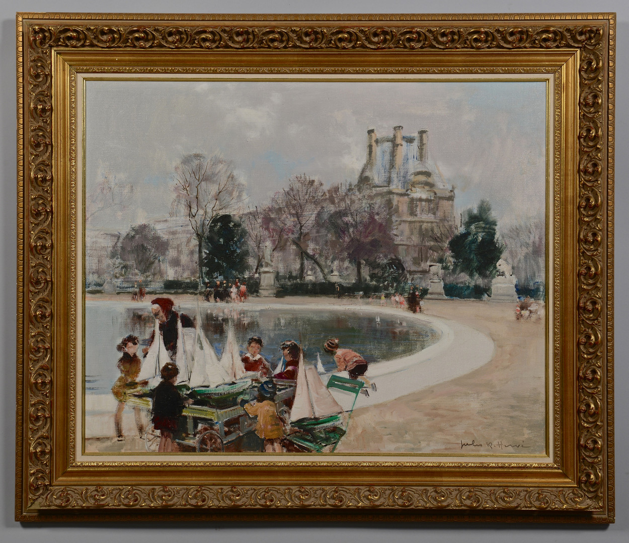 Lot 74: Jules R. Herve o/c, Pond Boats