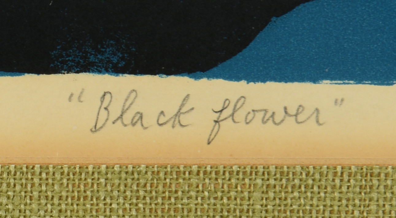"Lot 750: Hideo Yoshihara Colored Lithograph, ""Black Flower"""