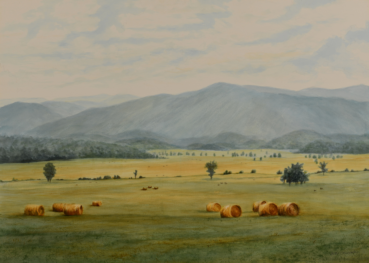 Lot 757: Betty Crenshaw East TN Mountainscape Watercolor