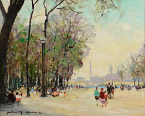 Lot 75: Jules R. Herve o/c, Park Scene