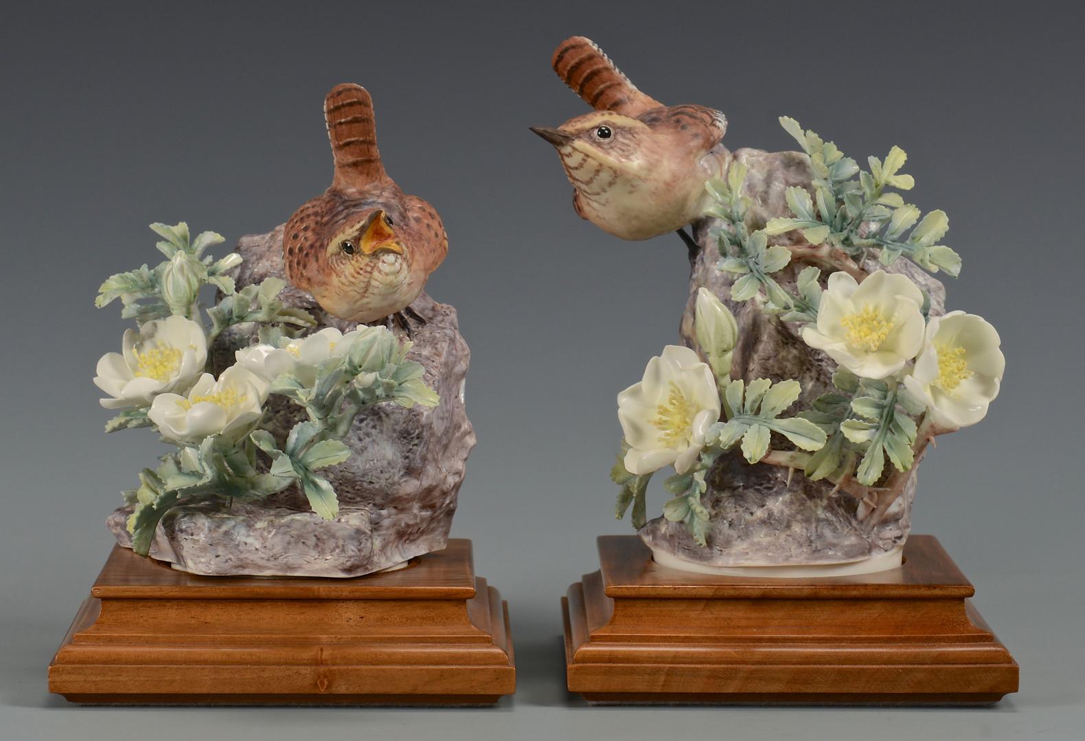 Lot 763: Pr Dorothy Doughty birds, Wren & Burnet Rose