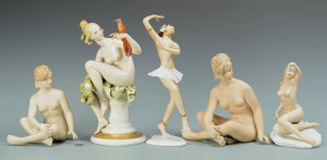 Lot 765: 5 Porcelain Nudes, 4 Wallendorf