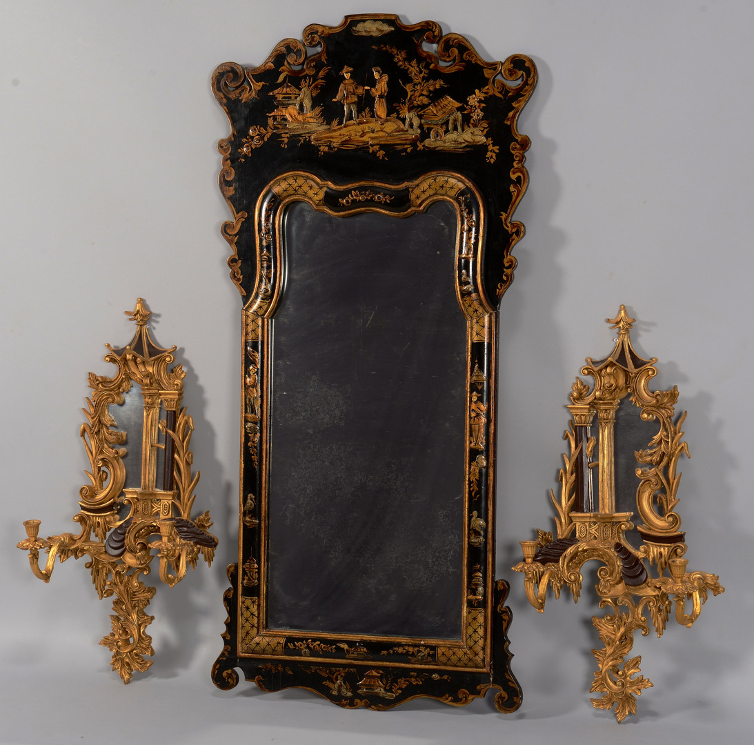 Lot 772: Chinoiserie Mirror & Sconces