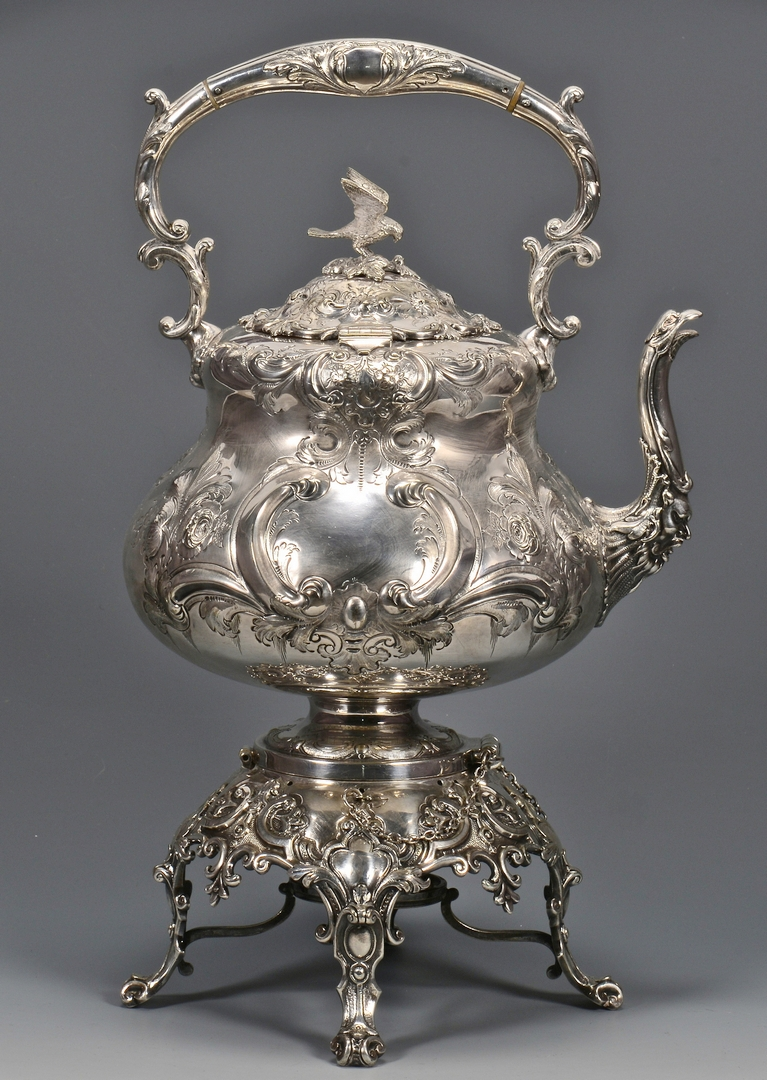 Lot 781: Victorian Kettle on Stand, Silverplated