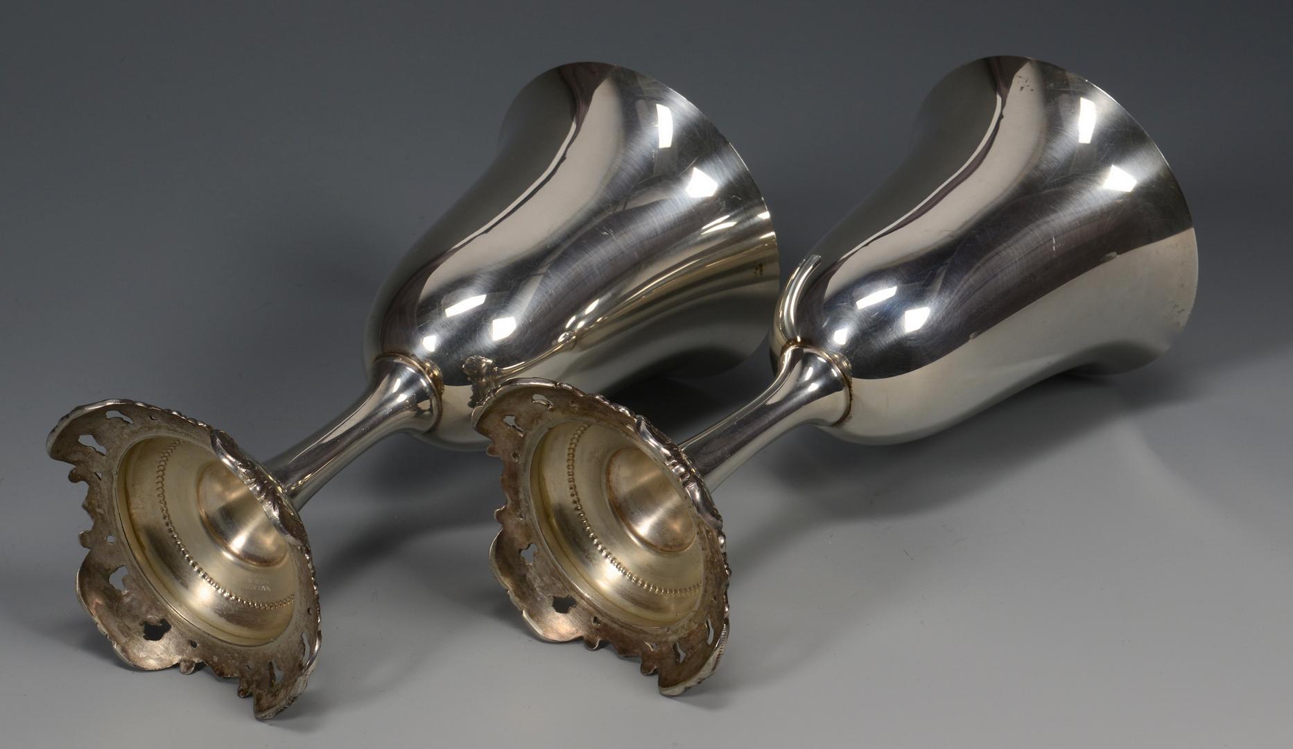 Lot 787: Pr. Sterling Grande Baroque goblets w/ heart dish