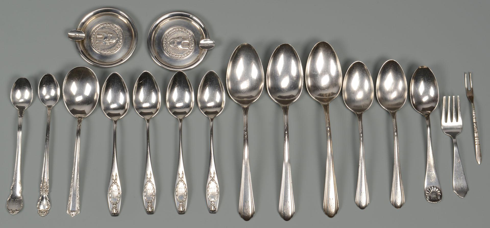 Lot 791: Misc. Sterling Silver inc. cream/sugar and flatwar