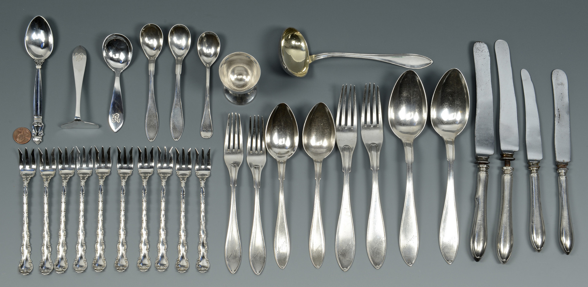 Lot 793: American & European Silver Flatware, 30 pcs.