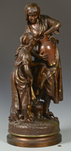 Lot 79: Emile Carlier Bronze, Woman & Girl at Well