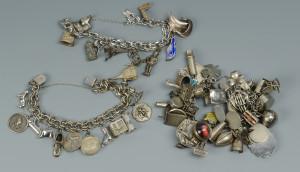 Lot 802: 3 Sterling Charm Bracelets