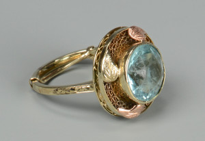 Lot 804: Vintage 14K Aquamarine Ring