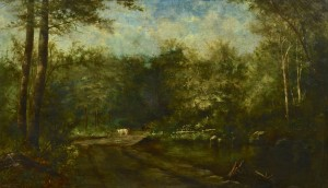 Lot 80: Large oil landscape w/ Cows