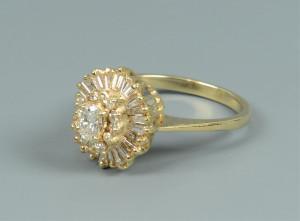 Lot 815: Ladies 14k Diamond Cocktail Ring