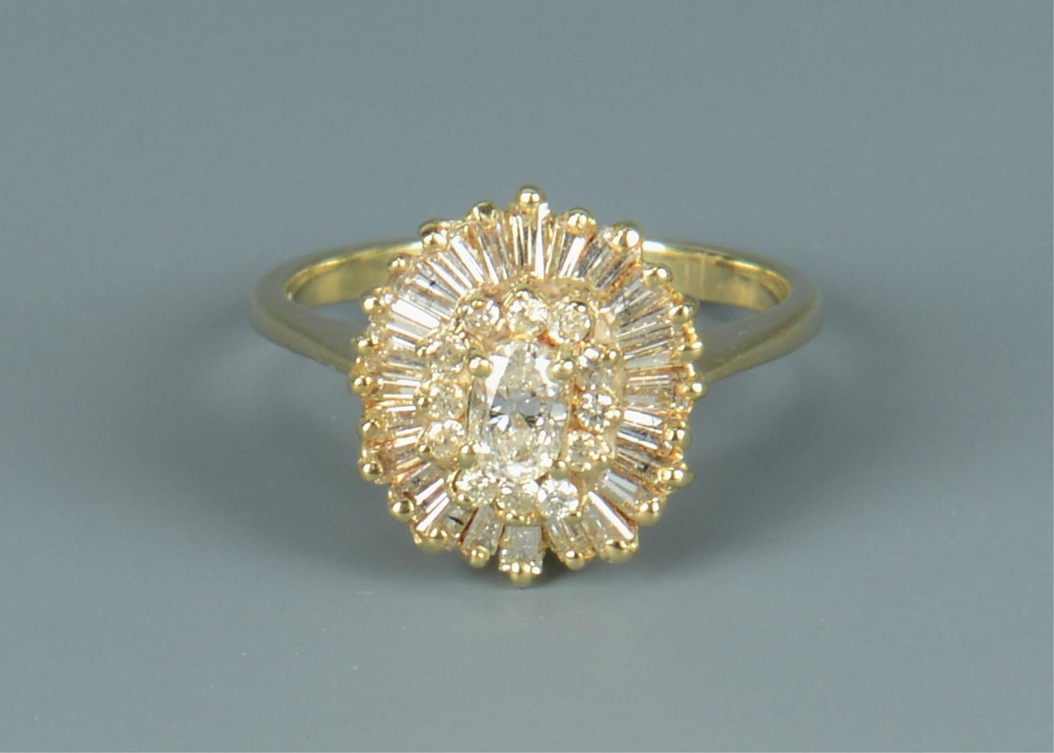 Lot 815: Ladies 14k Diamond Cocktail Ring