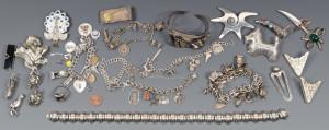 Lot 817: Sterling Charm Bracelets & Novelty Pins