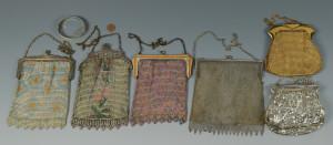 Lot 822: 6 Whiting & Davis Mesh Bags w/ Bangle Bracelet