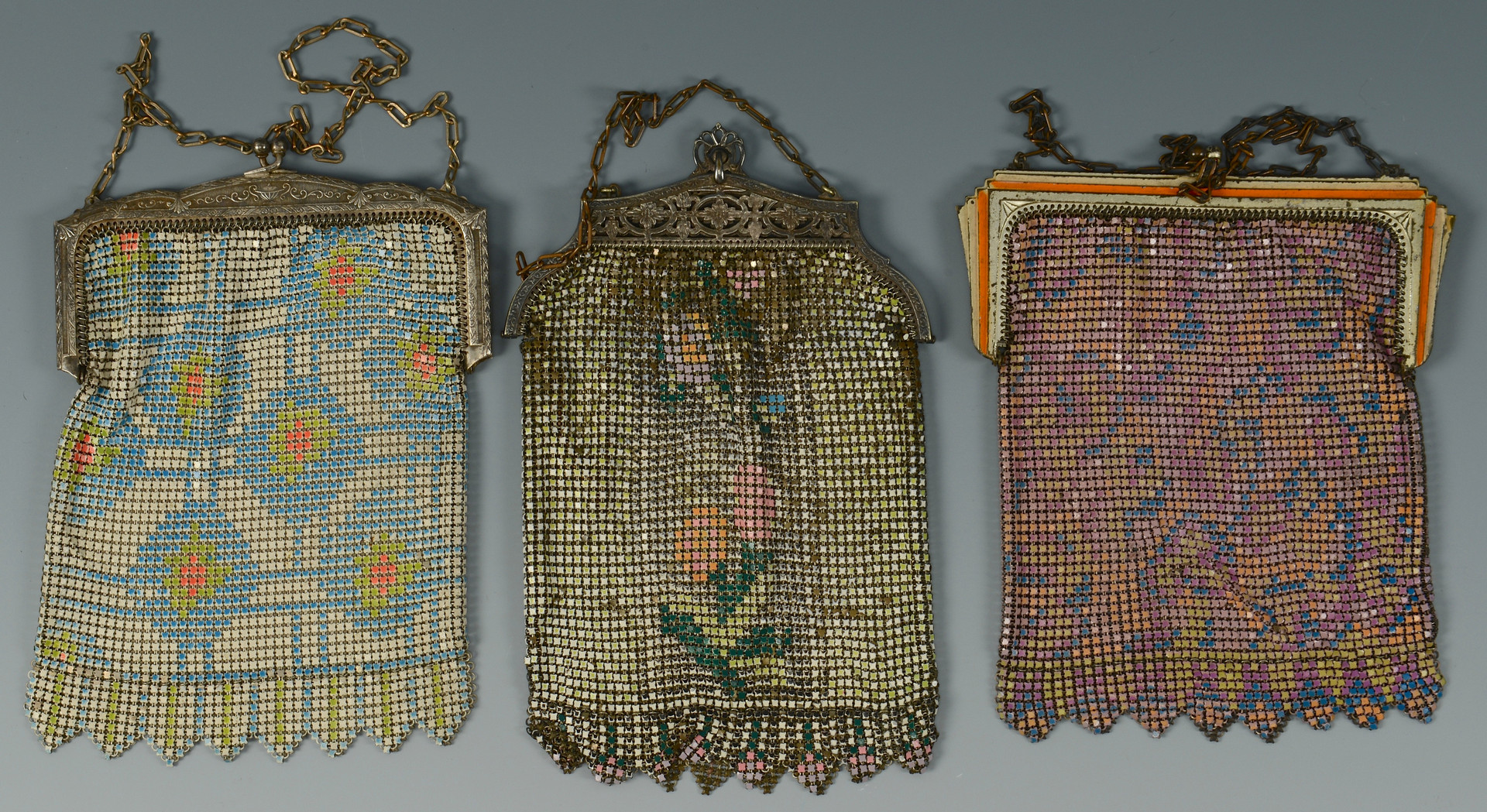 Lot 822: 6 Whiting & Davis Mesh Bags w/ Bangle Bracelet